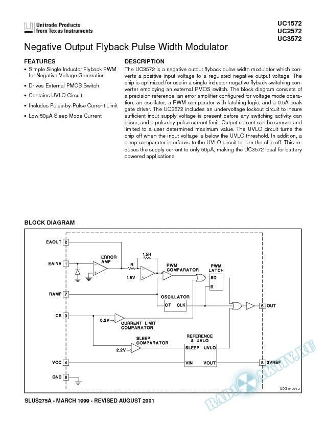 Negative Output Flyback Pulse Width Modulator (Rev. A)