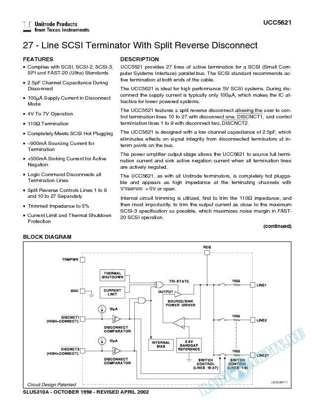 27-Line SCSI Terminator With Split Reverse Disconnect (Rev. A)