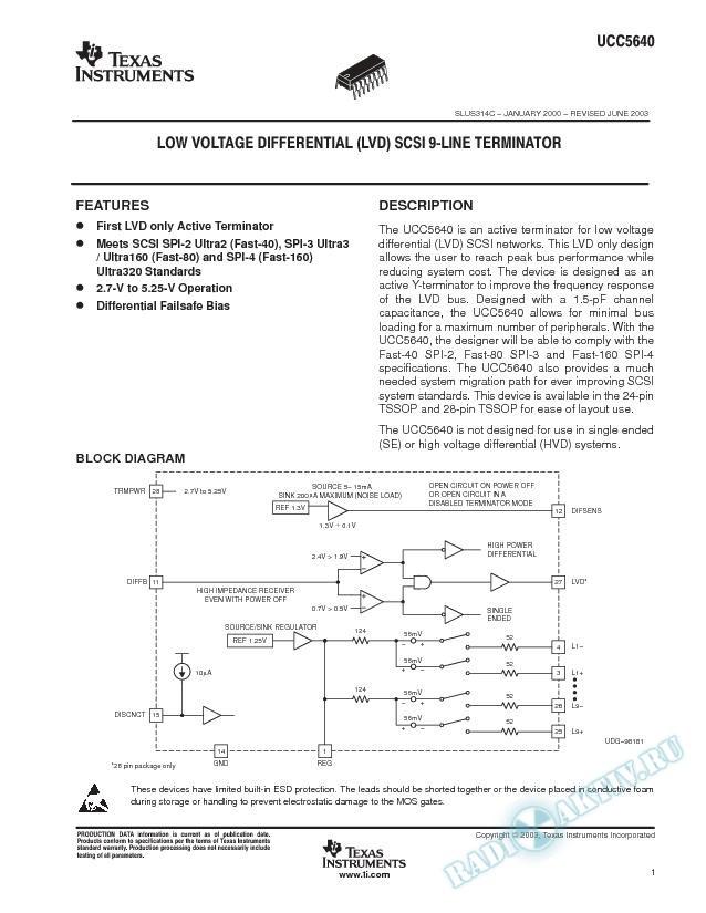 Low Voltage Differential (LVD) SCSI 9 Line Terminator (Rev. C)