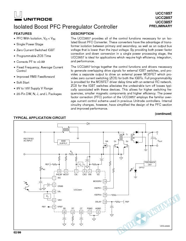 Isolated Boost PFC Preregulator Controller