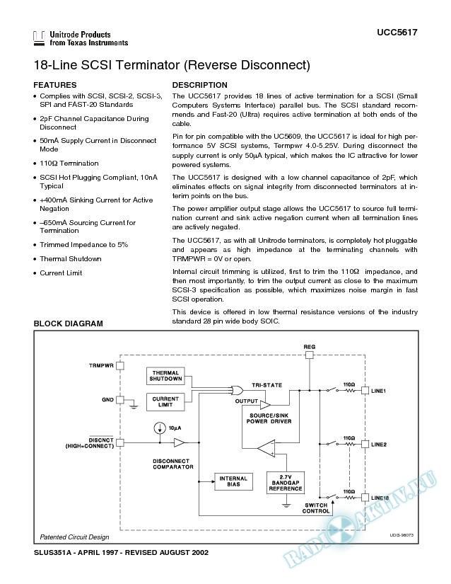 18-Line SCSI Terminator (Reverse Disconnect) (Rev. A)