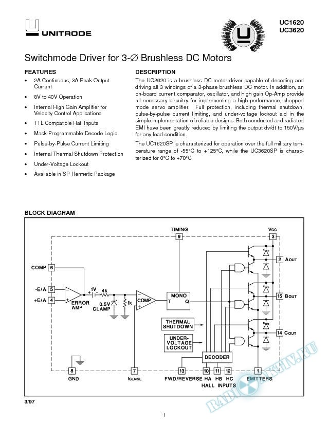 Switchmode Driver for 3-Phase Brushless DC Motors