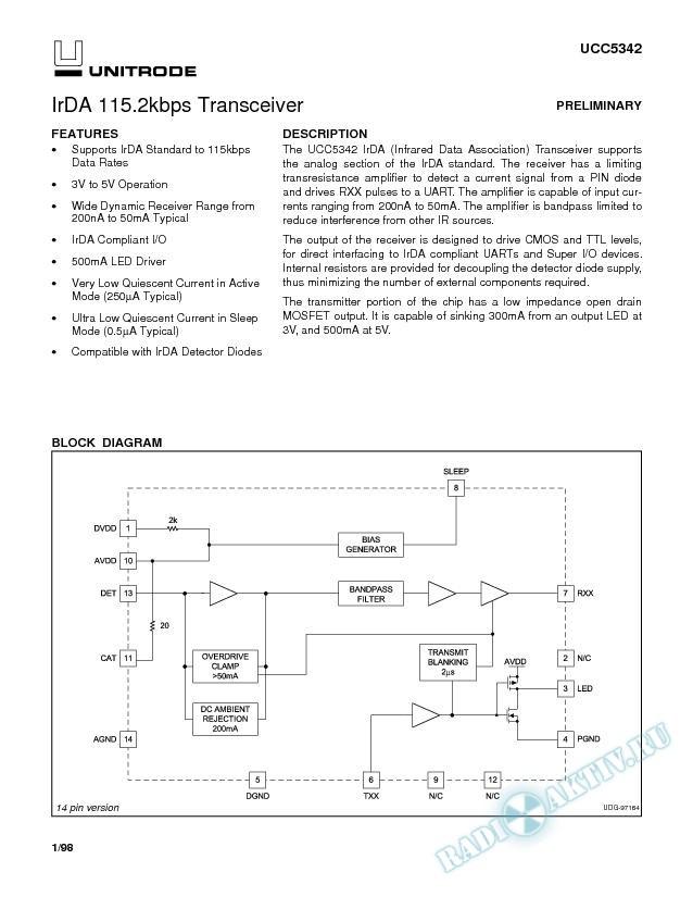 IrDA 115.2Kbps Transceiver