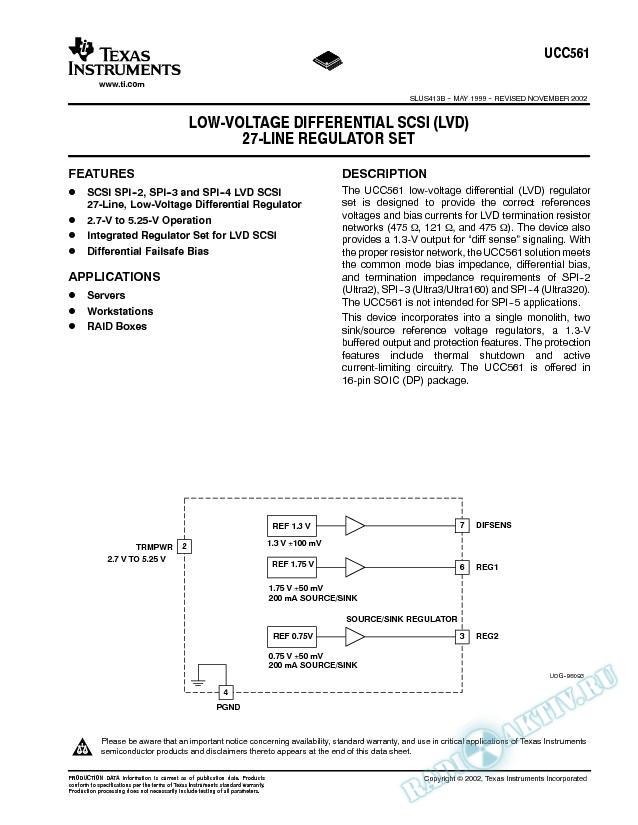 Low Voltage Differential SCSI (LVD) 27 Line Regulator Set (Rev. B)