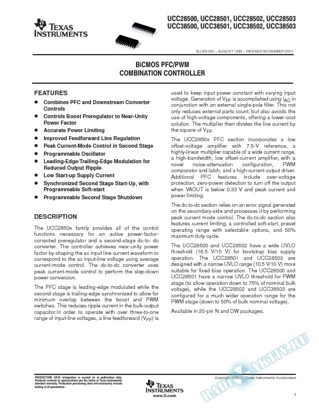 BiCMOS PFC/PWM Combination Controller (Rev. C)