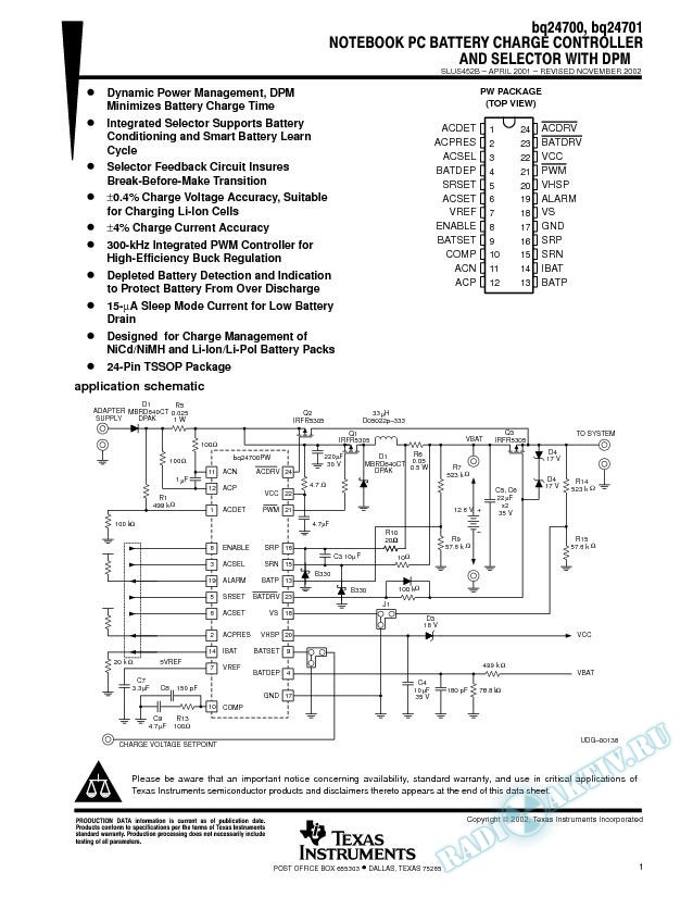 Notebook PC Battery Charge Controller and Selector with DPM (Rev. B)