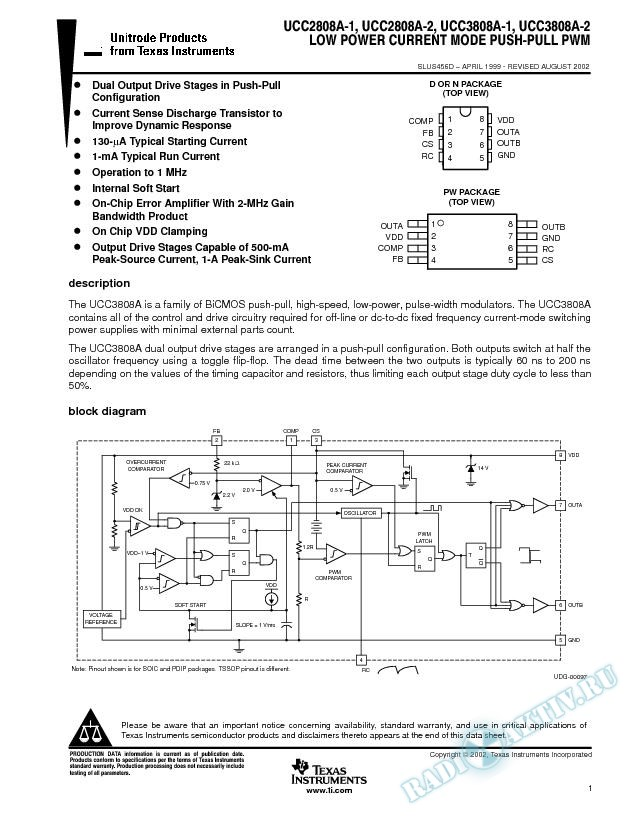 Low Voltage Current Mode Push-Pull PWM (Rev. D)