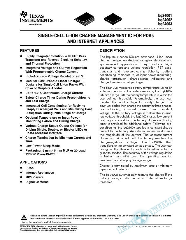 Single-Cell Li-Ion Charge Management IC for PDAs and Internet Appliances (Rev. E)