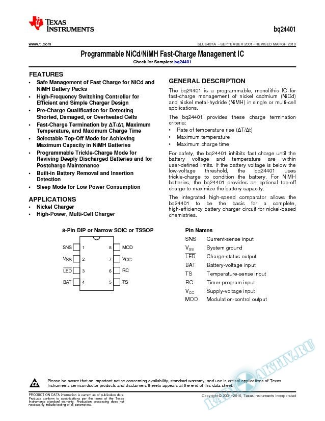 Programmable NiCd/NiMH Fast-Charge Management IC (Rev. A)