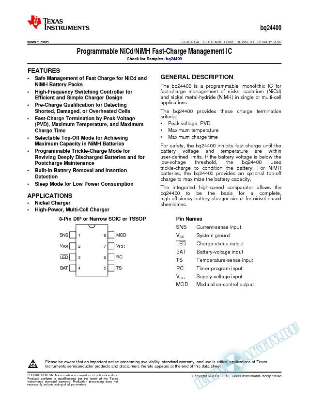 Programmable NiCd / NiMH Fast-Charge Management IC (Rev. A)
