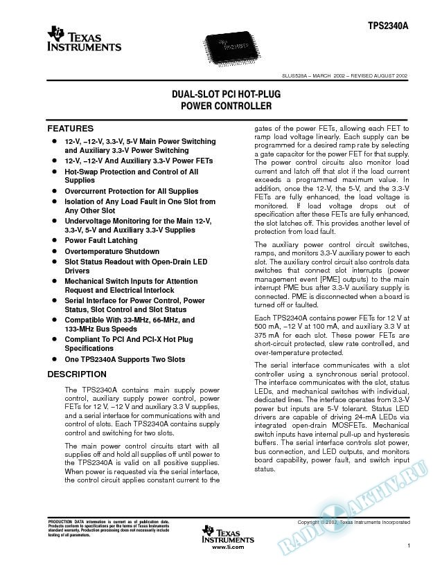 Dual-Slot PCI Hot-Plug Power Controller (Rev. A)