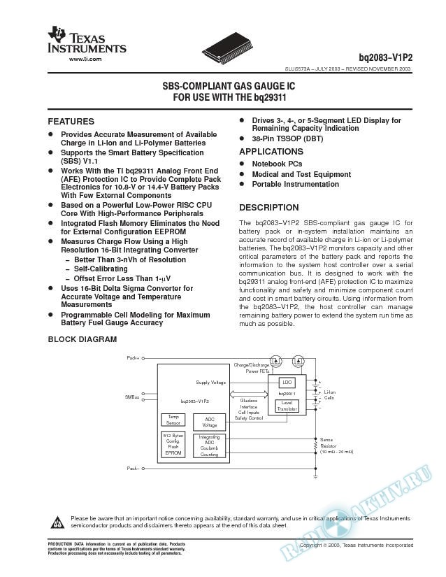 bq2083-V1P2: SBS-Compliant Gas Gauge IC For Use With The bq29311 (Rev. A)
