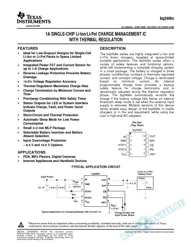 1A Single-Chip Li-Ion/Li-Pol Charge Management IC With Thermal Regulation (Rev. A)