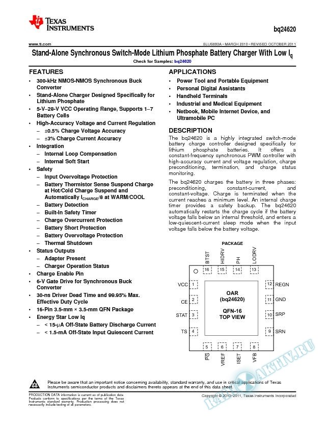 28V SYNCHRONOUS SWITCH-MODE CHARGE MANAGEMENT IC for LITHIUM PHOSPHATE BATTERIES (Rev. A)