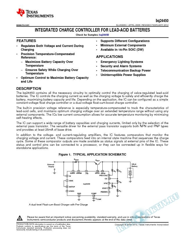 Integrated Charge Controller for Lead-Acid Batteries.. (Rev. C)
