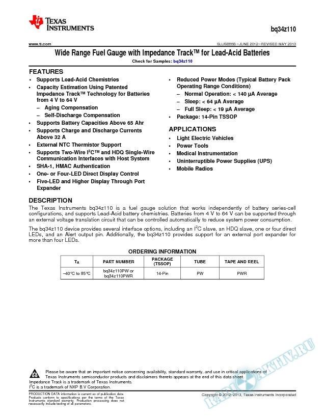 """bq34z110 Wide Range Fuel Gauge with Impedance Trackв""""ў for Lead Acid Batteries (Rev. B)"""
