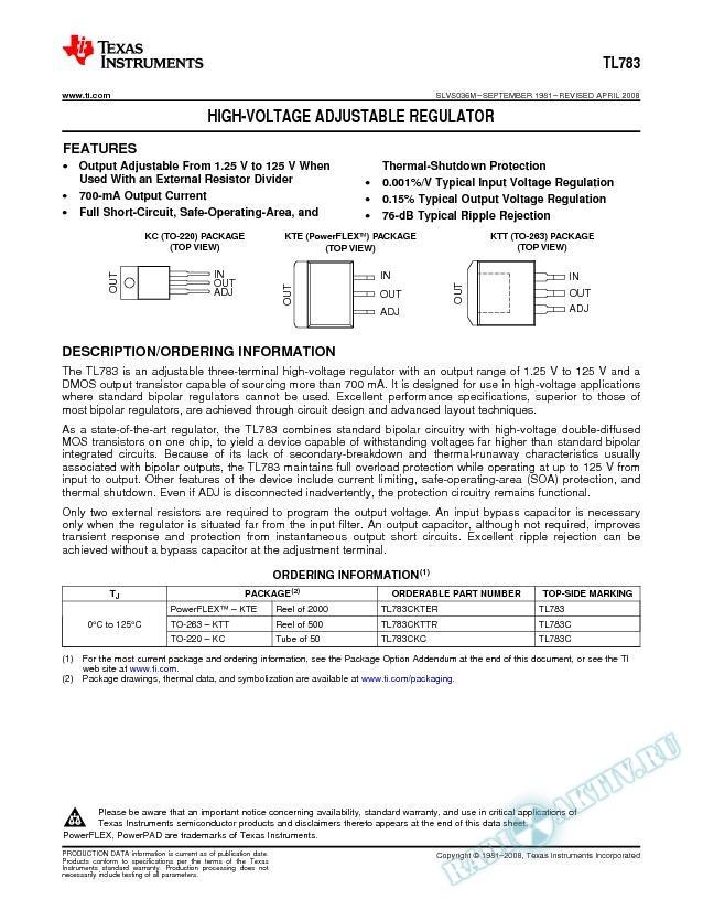 High-Voltage Adjustable Regulator (Rev. M)