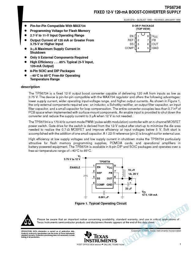 Fixed 12-V 120-mA Boost-Converter Supply (Rev. A)