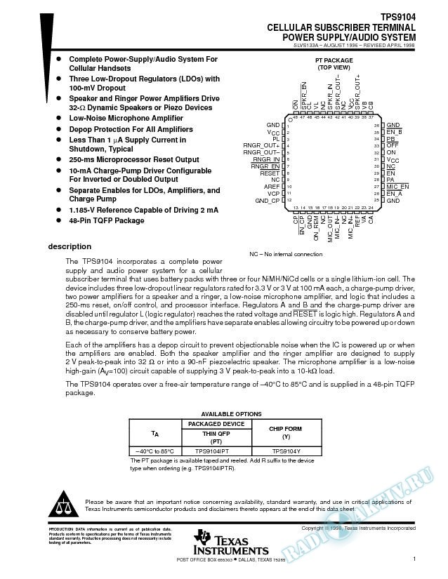 Cellular Subscriber Terminal Power-Supply/Audio System (Rev. A)
