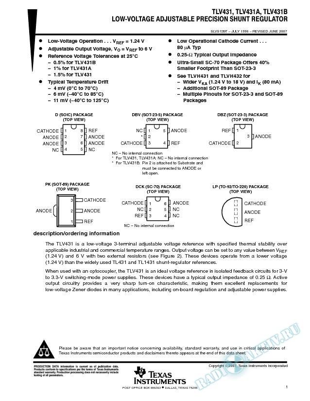 Low-Voltage Adjustable Precision Shunt Regulator (Rev. T)