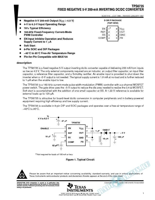 Fixed Negative 5-V 200-mA Inverting DC/DC Converter (Rev. A)