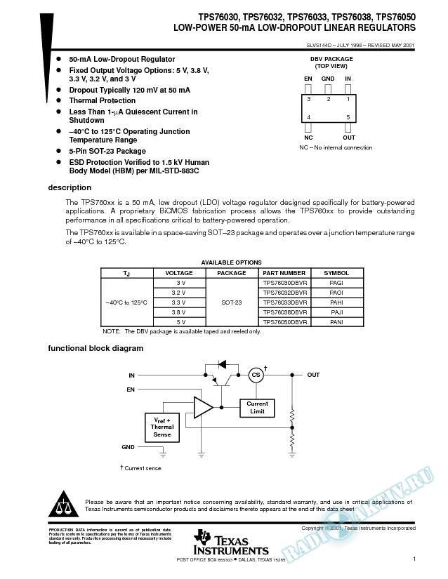 Low-Power 50-mA Low-Dropout Linear Regulators (Rev. D)