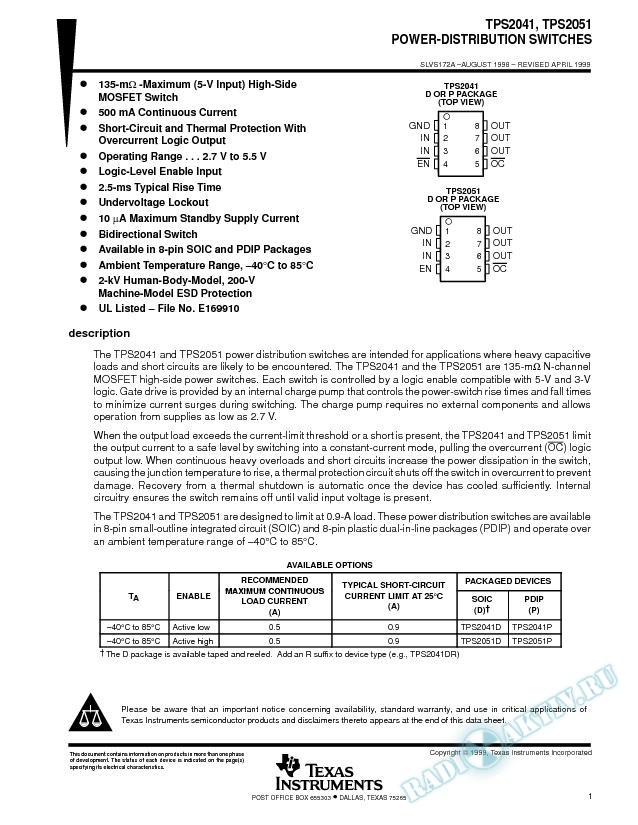 TPS2041, TPS2051 - Power-Distribution Switches (Rev. A)