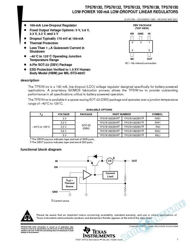 Low-Power 100-mA Low-Dropout Linear Regulator (Rev. B)