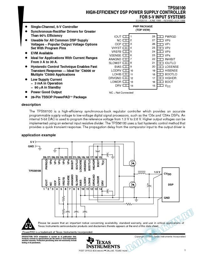 High-Efficiency DSP Power Supply Controller For 5-V Input Systems (Rev. A)