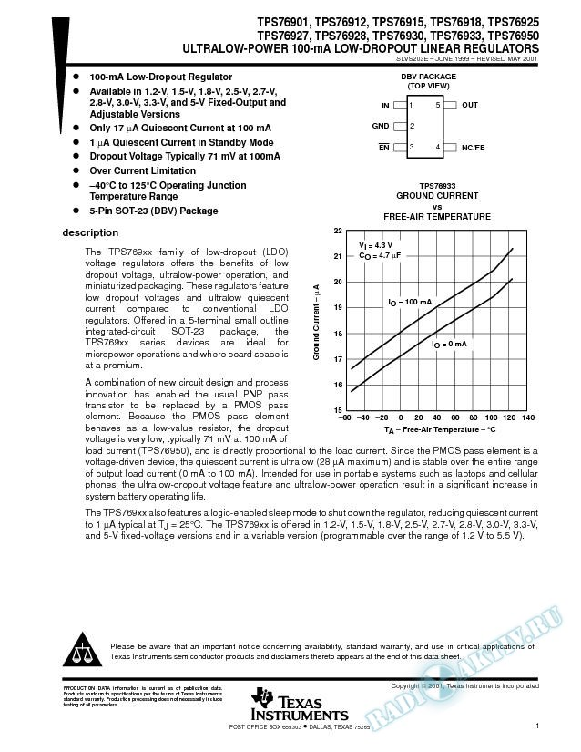 Ultra Low-Power 100-mA Low-Dropout Line Regulators (Rev. E)