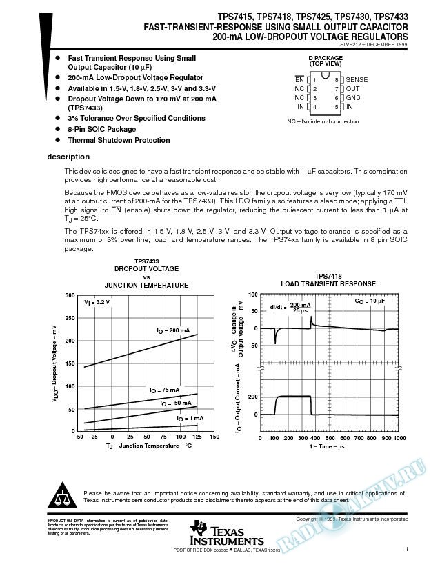 Fast-Transient-Response Using Small Output Capacitor 200-mA Low-Dropout Voltage