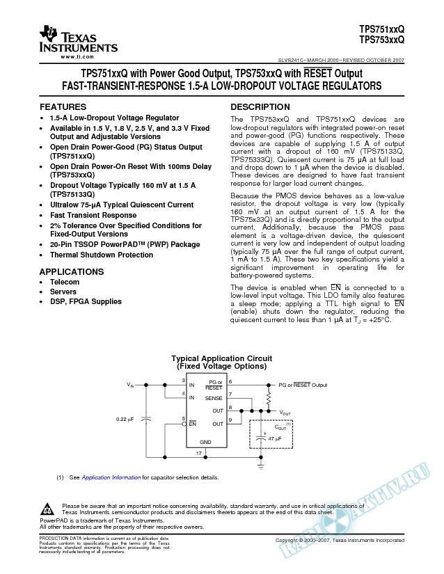 Fast-Transient-Response 1.5-A Low-Dropout Voltage Regulators (Rev. C)