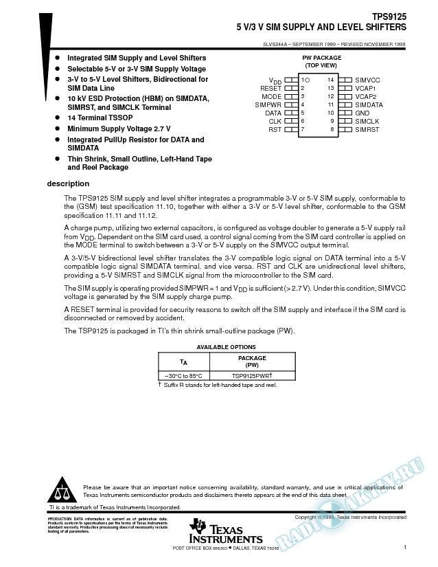 5V/3V SIM Supply and Level Shifter (Rev. A)