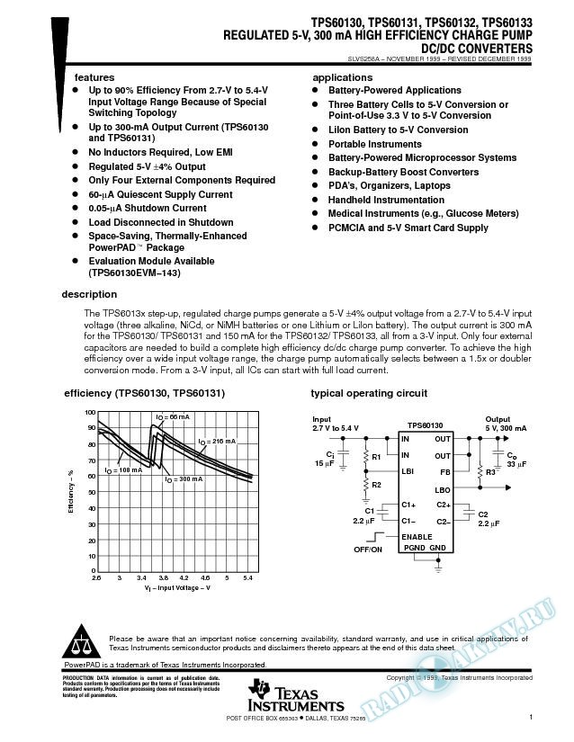 Regulated 5-V, 300 mA High Efficiency Charge Pump DC/DC Converter (Rev. A)