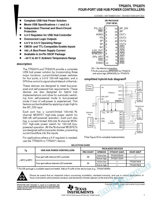 Four-Port USB Hub Power Controller (Rev. A)