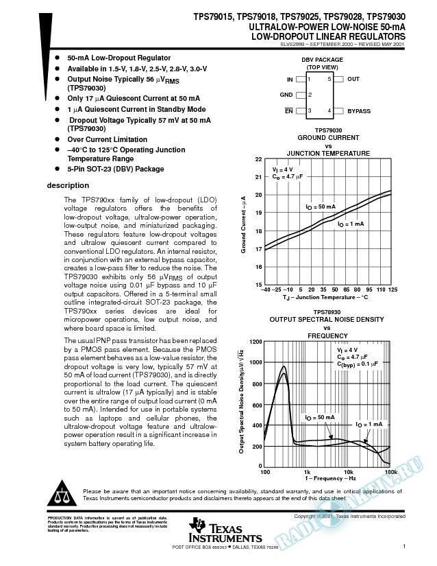 Ultralow-Power, Low-Noise 50-mA Low Dropout Linear Regulators (Rev. B)