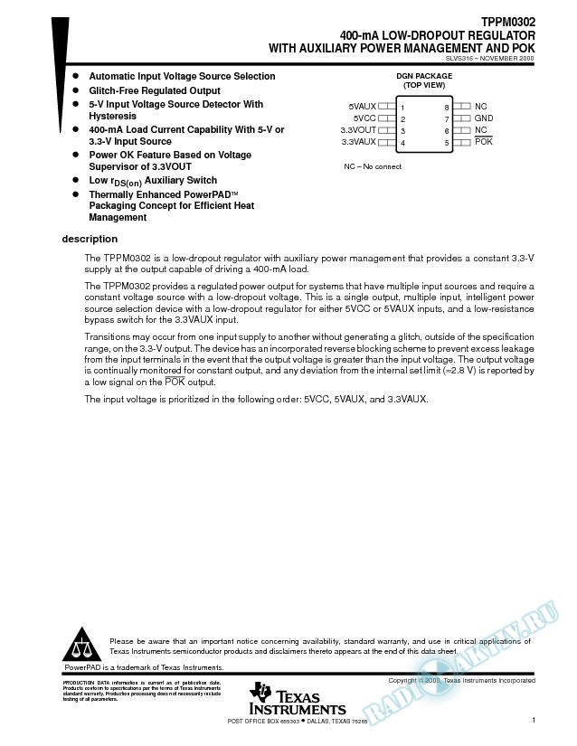400-mA Low-Dropout Regulator with Auxiliary Power Management and POK