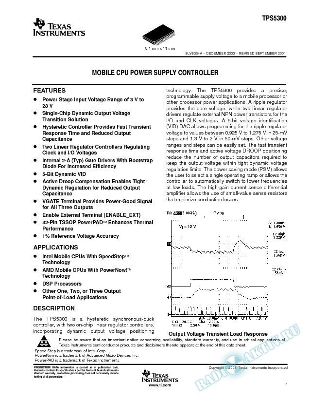 Mobile CPU Power Supply Controller (Rev. A)