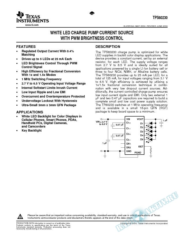 TPS60230:  White LED Charge Pump Current Source with PWM Brightness Control (Rev. A)