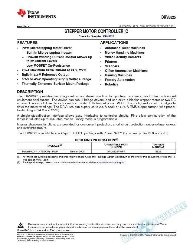 Stepper Motor Controller IC .. (Rev. D)