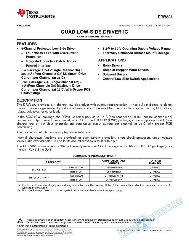 Quad Low-Side Driver IC (Rev. B)