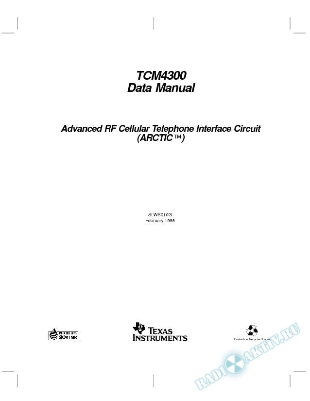 Advanced RF Cellular Telephone Interface Circuit (ARCTIC (TM)) Data Manual (Rev. G)