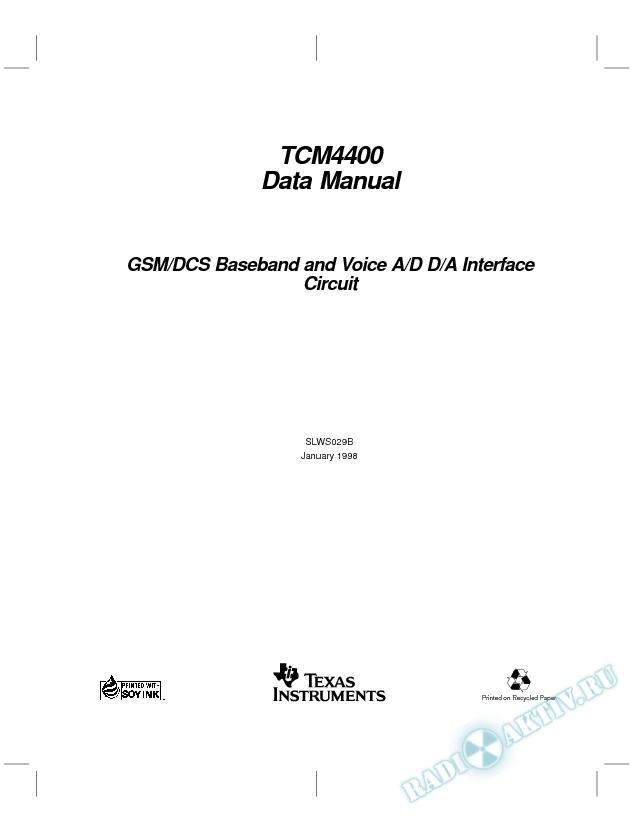 GSM/DCS Baseband And Voice A/D D/A Interface Circuit Data Manual (Rev. B)