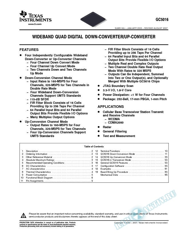 Wideband Quad Digital Down-Converter/Up-Converter (Rev. J)