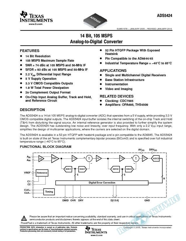 14-Bit, 105 MSPS Analog-to-Digital Converter (Rev. B)