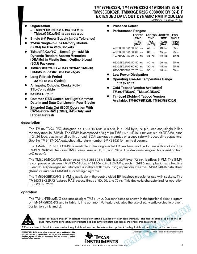 TM497fbk32r, TM497FBK32G, TM893GBK32R, TM893GBK32G EDO DRAM Modules