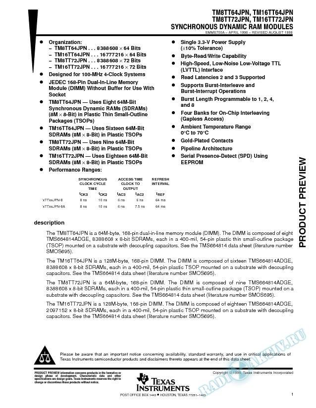 64 Bit / 72 Bit Synchronous Dynamic RAM Modules (Rev. A)