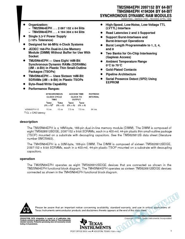 64-Bit SDRAM Modules (Rev. A)