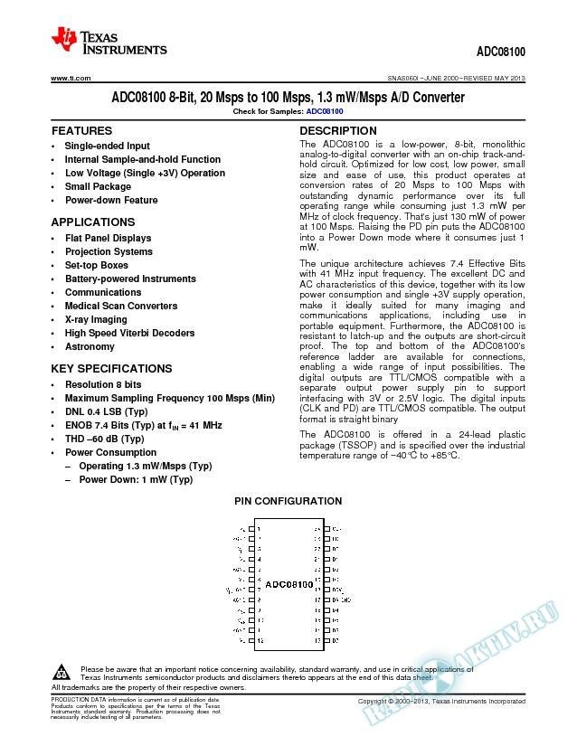 ADC08100 8-Bit, 20 Msps to 100 Msps, 1.3 mW/Msps A/D Converter (Rev. I)