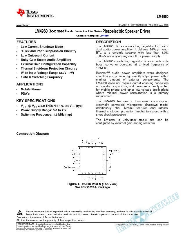 LM4960 Piezoelectric Speaker Driver (Rev. C)